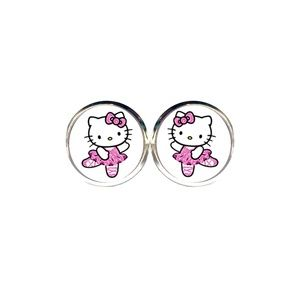 Glitter Hello Kitty Ballerina Earrings